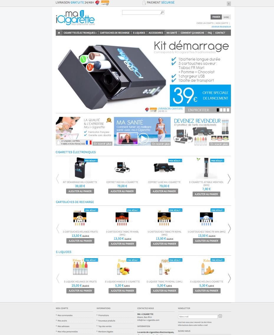 Création e-commerce cigarette electronique ma i cigarette