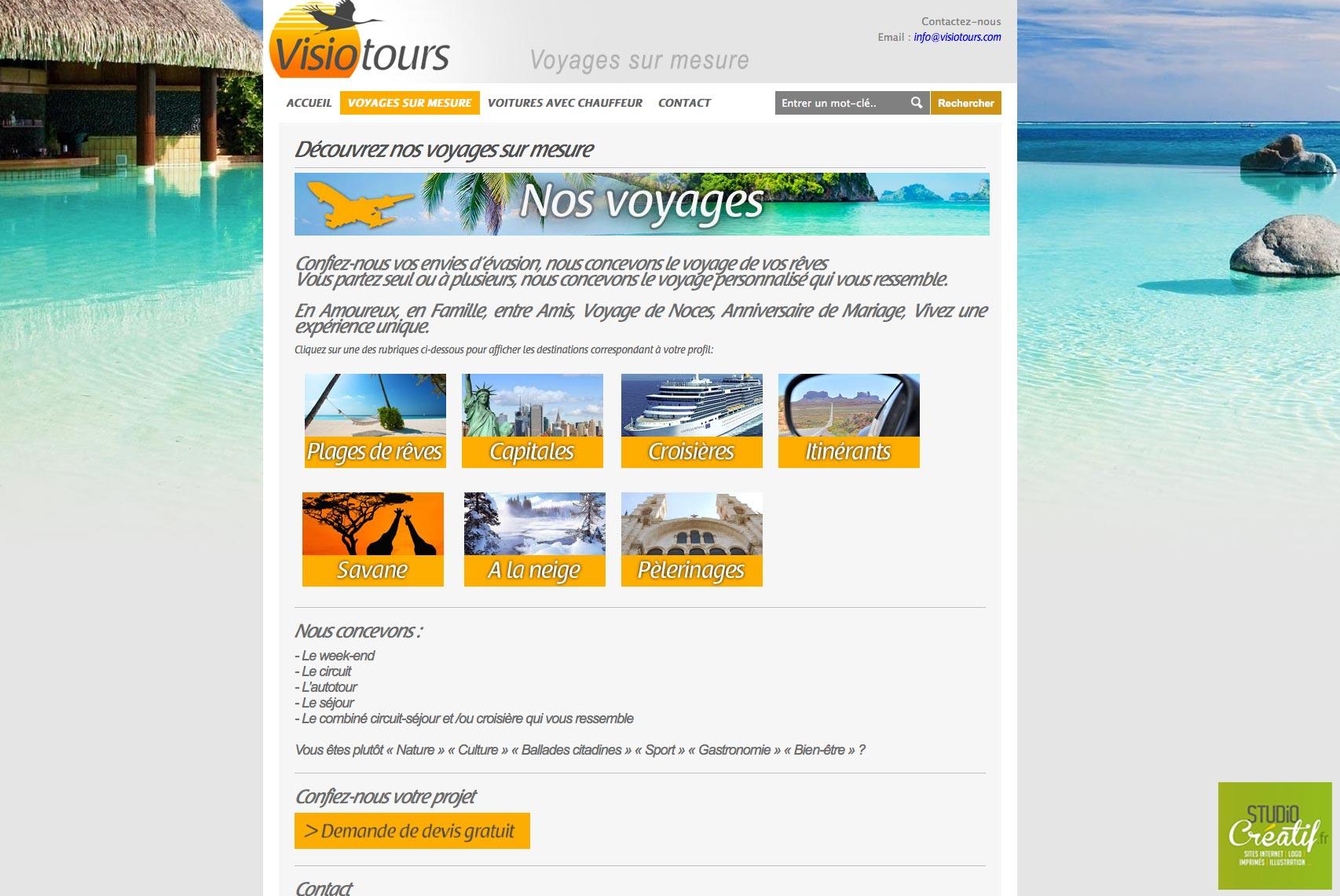 site internet agence voyage visotours nos voyages