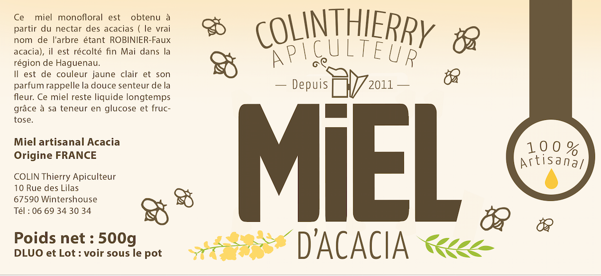 Etiquette miel acacia artisanal Logo artisan apiculteur