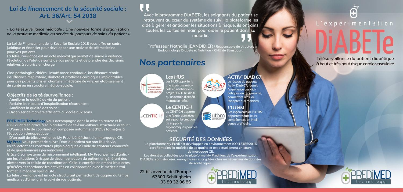 Plaquette entreprise télésurveillance médicale Diabete Recto